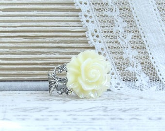 Light Yellow Rose Ring Iridescent Ring Yellow Flower Ring Adjustable Ring Yellow Rose Jewelry