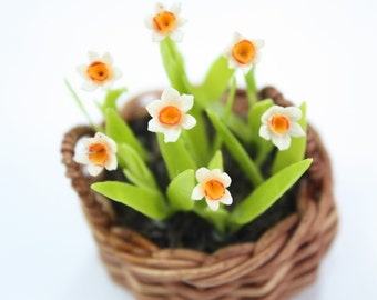 Miniature Polymer Clay Flowers English Cottage Narcisus 1 pcs