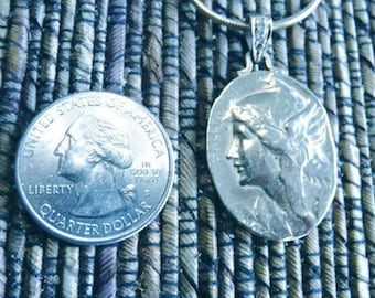 Sterling or  Gold French  Victory Coin Pendant