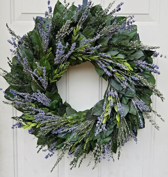 23 inch lavender wreath, fall wreath, custom wreath, dried lavender wreath, leaf wreath, preserved wreath, fragrant wreath