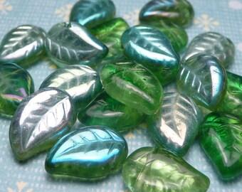 Green AB Glass Leaf Beads 12x8mm - 10pc