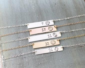 Personalized Sports Bar Necklace. Custom Athlete Jewelry. Team Jewelry, Graduation Gift. Football, Basketball, Baseball Jewelry