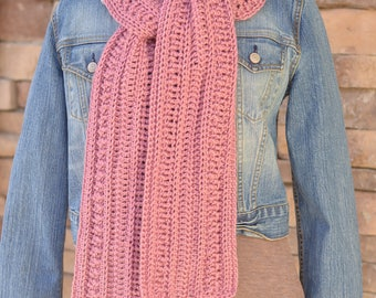 Women's crochet scarf - textured scarf - pink scarf - handmade crochet scarf - ready to ship - women's gift - long scarf - winter scarf