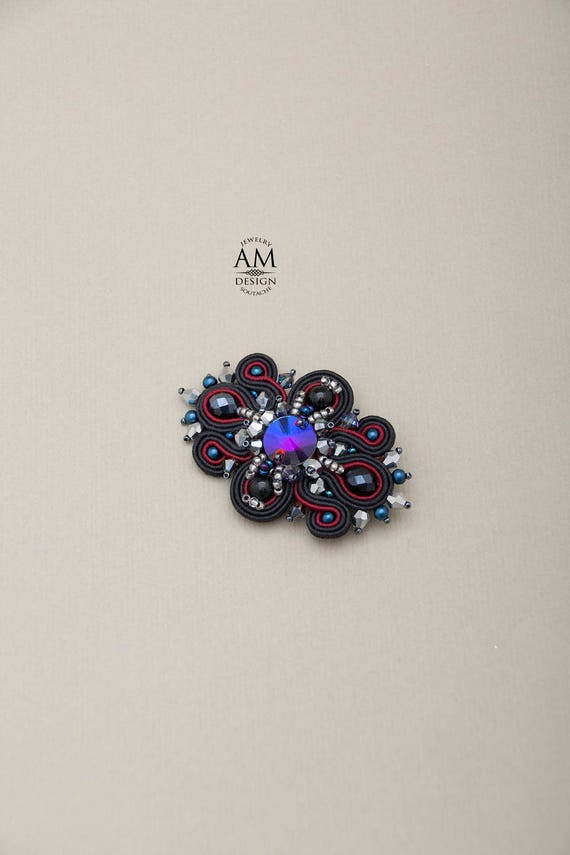 Easter gifts for women swarovski crystal brooch soutache like this item negle Choice Image