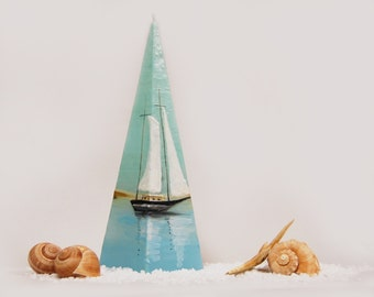 Handpainted Pyramid Candle, Lonely Sailboat Sea And Dunes, Nautical Pyramid Candle, Beach Cottage Decor, Marine Home Decor