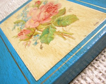 Country Style Picture with Decoupage Rose on Deep Turquoise Background - Shabby Chic Gift for New Home