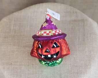 Christopher Radko Halloween Glass Ornament Jack O'Lantern Pumpkin