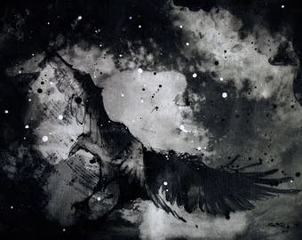 A3 Crow painting - 12x16in canvas, A3, 42x30cm - crow flying at night