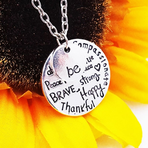 Be Happy Charm Necklace, Gift for Daughter Mother, Word Charms, Be Thankful Be Brave, Be Strong Jewelry, Inspirational Quote, Uplifting Gift
