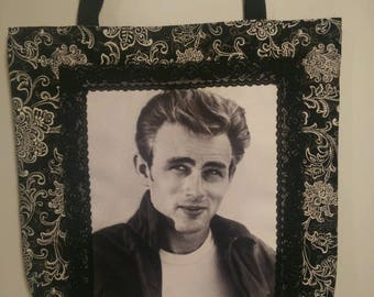 James Dean (black and white)  tote bag
