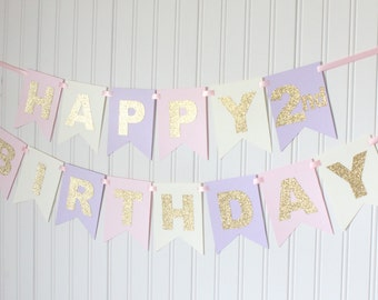 Gold, Pink, Ivory, Purple, Happy Birthday Banner/ Girl Birthday/ Princess Party/ Party Decorations/ Custom Name/ Personalized, Lavender