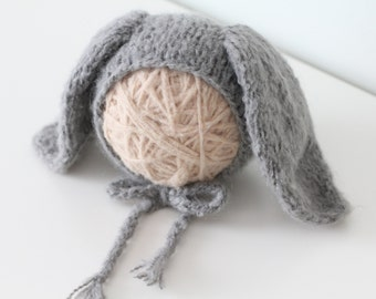 Newborn rabbit – Baby props – Newborn boy – Photo props – Baby boy rabbit – Newborn hat – Newborn props – Baby boy props - Easter hat - Grey