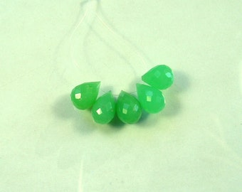 Chrysoprase faceted drop beads AA+ 10.5-12.5mm 5pcs