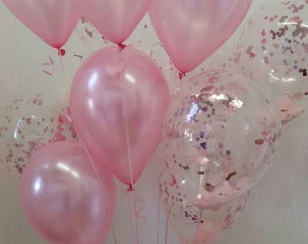 Pretty Pink Confetti Balloons & Pearl Pink Balloons, Baby Shower or First Birthday Decorations, Pkt of 12 Balloons