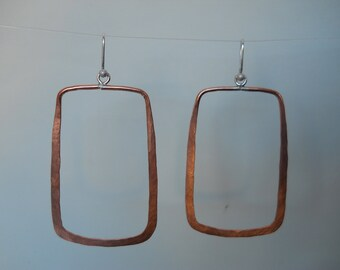 Large copper square earrings