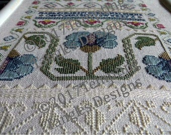 Blue Poppy Learning Sampler - Eliza Teakle series, antique style/specialty stitches instructions/ white work/ satin stitch/ floral border
