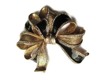 Huge Vintage Black Enamel  Rhinestone Goldtone Bow Motif  Brooch