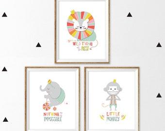 Circus nursery art, Set of 3, elephant nursery art, lion nursery art, monkey nursery art, scandinavian nursery, circus wall art, circus art
