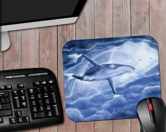 Whale in the Sky - Novelty Computer Mousepad - Whale Mousepad - Fantasy Mousepad