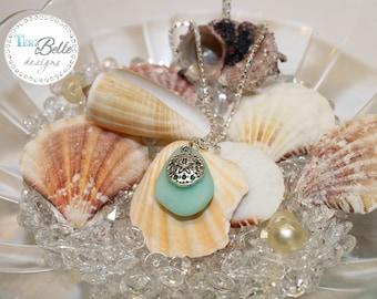 "Faux Sea Glass Neckace Aqua with Tibetan Silver Sand Dollar Charm - 16.5"" Silver Plated Snake Chain"