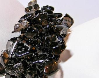 Wire Crochet Smoky Quartz Bracelet, Beaded Bracelet; Black Wide Bracelet, Plus size Bracelet; Handmade Bracelet