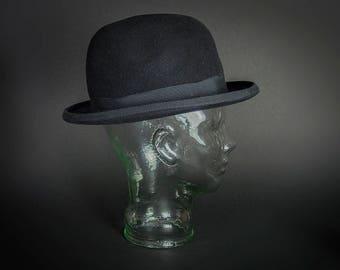 Vintage 1990's Genuine Fur Felt Bowler Hat, Vintage 1990's Reproduction 40's Bowler Hat, Vintage 1990's Gentlemen's Fur Felt Bowler Hat