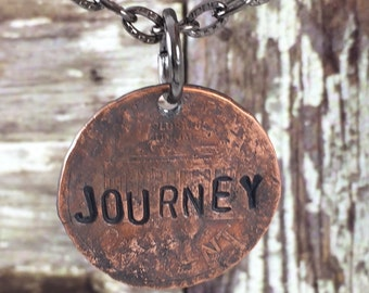 JOURNEY Penny Charm Necklaces, Good Luck Penny, Bouquet Charm, Coin Charm Necklace, Inspirational Necklace, Gift Idea for Bride, Graduate