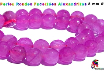 NEW! 5 beads round faceted 8 mm Alexandrite color purple of the Brazil Fine stone