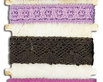 Bo Bunny Purple Lace Trim - Lace Trim - Purple Lace Trim - Lace Trim For Scrapbook - Embellishment Trim - Purple Lace Embellishment - 4-078