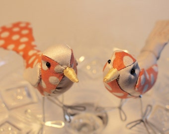 Bird Cake Topper Wedding Cake Topper Birds: Fabric Bird Cake Topper in gray and coral polka dot fabrics for weddings  love birds