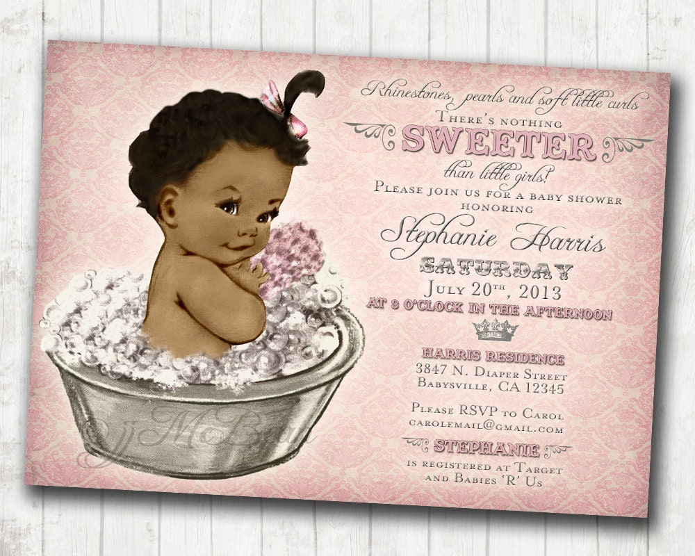 African American Coed Baby Shower Sprinkle Invitation Sprinkle