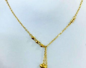 22k solid gold puffy twin hearts necklace  916 Gold