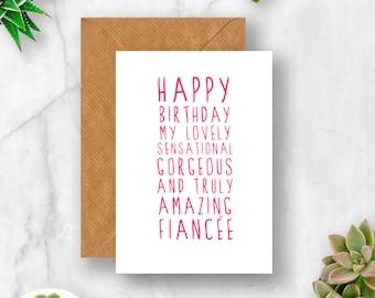 Sweet Description Happy Birthday Fiancee Card, Fiancee Birthday, Card for Fiancee, Fiancee Birthday Card,