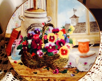Gardener's Delight Collector Plate, Fifth Issue in Flowers From Grandma's Garden Series by Glenna Kurz, Pansies in a Basket Plate, 1991.