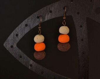 Polymer clay beige orange brown earrings
