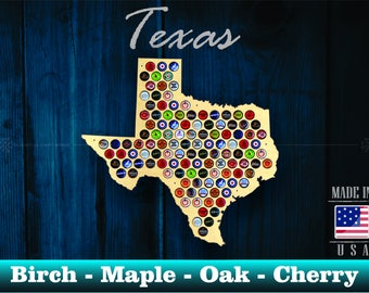 Texas Beer Cap Map TX - Beer Cap Holder Beer Cap Display Gift for Him Wedding Gift Fathers Day Birthday  Unique Christmas Gift