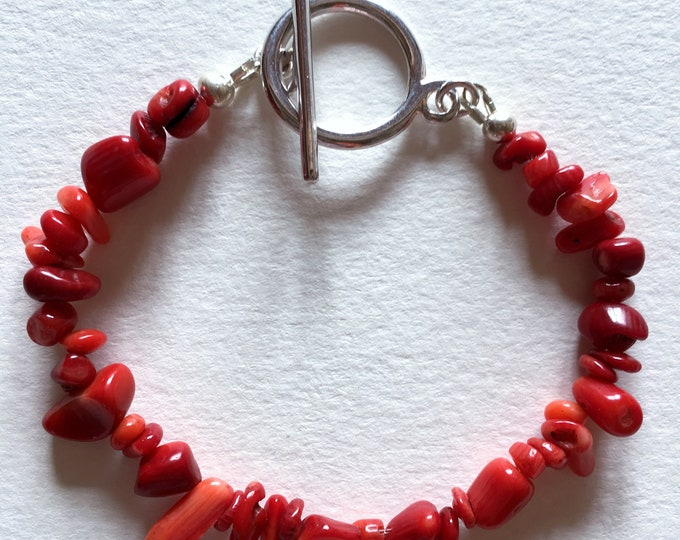 Coral bracelet, Silver bracelet with red sea bamboo stones