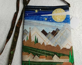 Landscape bag - Mountains, Moon, Night sky