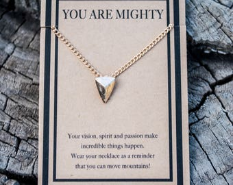 Arrowhead Necklace - You Are Mighty Necklace - Gold Arrow - Warrior Necklace