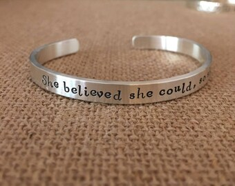 Graduation Bracelet, She Believed She Could So She Did Bracelet, Sterling Silver Personalized Bracelet, Inspirational Bracelet, 925 Cuff