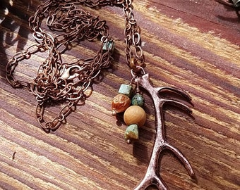 Elk Antler Necklace with Turquoise