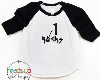 1st Birthday Raglan Shirt - 1 Rocks Birthday tshirt Boy/Girl - Rockstar Birthday One - Trendy Birthday Tee Boy/Girl - Toddler - Baby - Gift