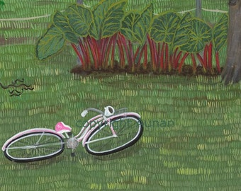Rhubarb, Schwinn Bicycle, Holstein Helper No.5 Archival Print on Watercolor Paper