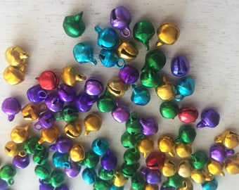 Aluminum Bell Beads, Jewel Tones, 6MM, Aluminum Bells, Packaged Set of 100 Pieces, Crafts, Embellishments, Packaged Bells