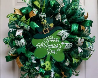 St. Patrick's Day Wreath, St. Patricks Day Mesh Wreath, St. Patrick's Day, Door Hanger, Irish Wreath
