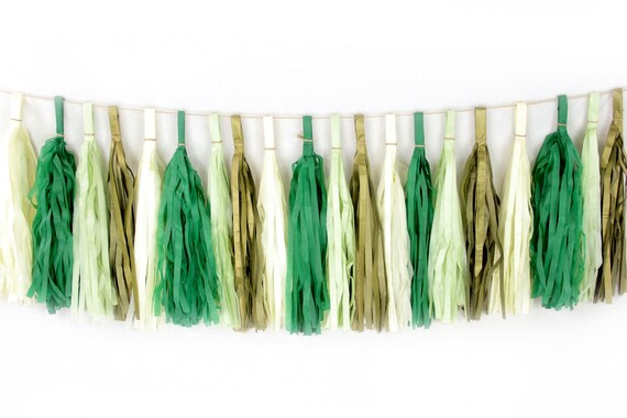 Forest Fancy Tassels, Tissue Tassels, Tassel Banner, Birthday Party Decor, DIY Tassels, Baby Shower, Birthday Wedding, Rustic Woodland Green