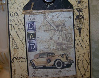 Fathers Day Card All Occasion Card for Men Vintage Automobile Card Handmade Vintage Style