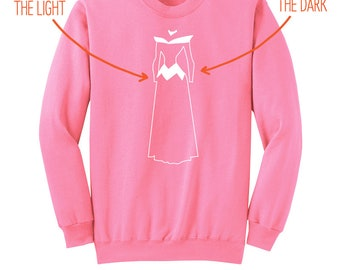 "Sleeping Beauty - ""Glow-in-the-Dark Aurora Gown"" - Sleeping Beauty Sweatshirt - Aurora Sweatshirt - Neon Pink Adult Crew Neck Sweatshirt"