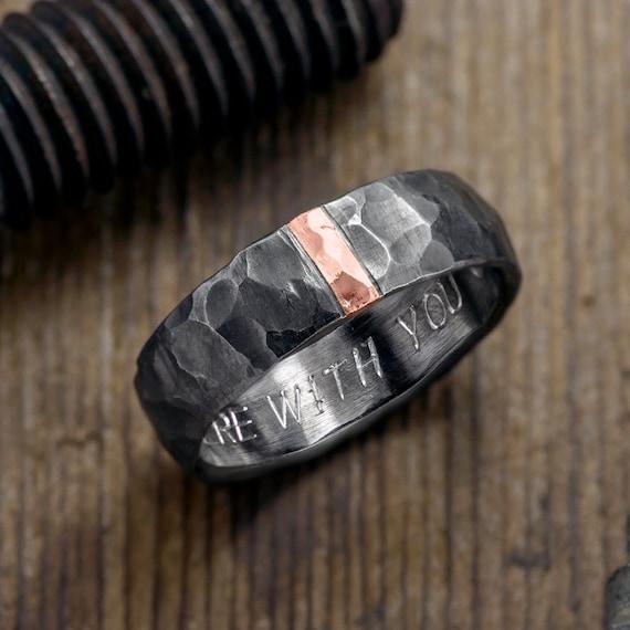 6mm Hammered Mens Wedding Ring 14k Rose Gold and Sterling