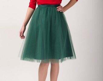 Green tulle skirt, Light tulle skirt, Handmade tutu skirt, Adult tulle skirt, Adult tutu skirt, Tulle petticoat